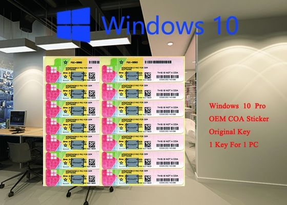 Etiqueta engomada 32 del COA del Microsoft Windows 10 auténticos del 100% favorable 64 sistemas FQC 08983, favorable OEM del pedazo del coreano de Windows 10